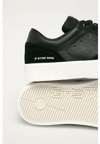 Czarne sneakersy G-Star RAW na sznurówki, z okrągłym noskiem, z cholewką