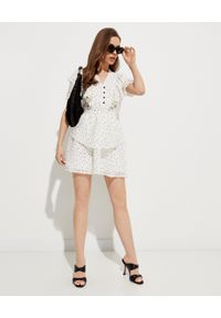 HEDONIC - Sukienka w kropki Fallon Dots. Typ kołnierza: dekolt w kształcie V. Kolor: biały. Materiał: tkanina, wiskoza, koronka. Wzór: kropki