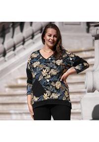 Moda Size Plus Iwanek - Bluza dresowa Agnes w złote liście XXL OVERSIZE JESIEŃ ZIMA. Kolor: złoty. Materiał: dresówka. Długość: krótkie. Sezon: zima, jesień