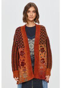 Pomarańczowy sweter rozpinany Desigual