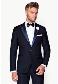 Niebieska marynarka Lancerto elegancka, na wesele, gładkie