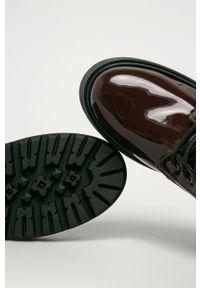 Fioletowe botki Tommy Jeans na sznurówki, z cholewką