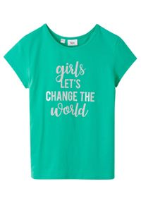 T-shirt dziewczęcy bonprix karaibski zielony - srebrny z nadrukiem. Kolor: zielony. Wzór: nadruk