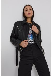 The Kooples - Ramoneska skórzana. Okazja: na co dzień. Kolor: czarny. Materiał: skóra. Styl: klasyczny, casual