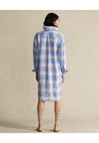 Ralph Lauren - RALPH LAUREN - Sukienka lniana w kratę. Typ kołnierza: polo. Kolor: biały. Materiał: len. Długość: długie #2