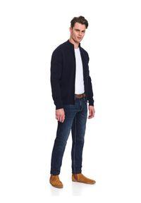 Niebieski sweter TOP SECRET ze stójką, na co dzień, elegancki, długi