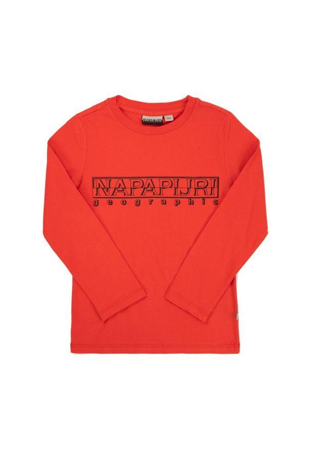 Czerwona koszulka z długim rękawem Napapijri