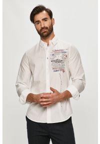 Biała koszula Desigual na co dzień, z nadrukiem, długa, z klasycznym kołnierzykiem