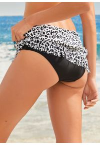 Spódniczka kąpielowa bonprix czarno-biały z nadrukiem. Kolor: czarny. Wzór: nadruk
