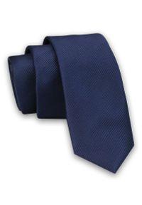 Męski Krawat ŚLEDŹ (Wąski) w Delikatny Prążek -5cm- Angelo di Monti, Granatowy. Kolor: niebieski. Wzór: prążki