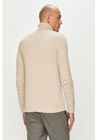 Kremowy sweter Jack & Jones casualowy, na co dzień, z golfem