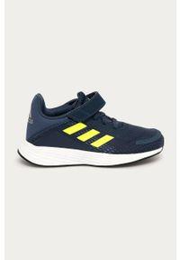 Niebieskie buty sportowe Adidas z cholewką, z okrągłym noskiem, na rzepy