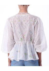 Ermanno Firenze - ERMANNO FIRENZE - Ażurowa bluzka z koronką i haftem. Kolor: biały. Materiał: koronka. Wzór: haft, koronka, ażurowy. Sezon: lato, wiosna