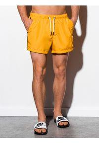Żółte szorty Ombre Clothing z aplikacjami