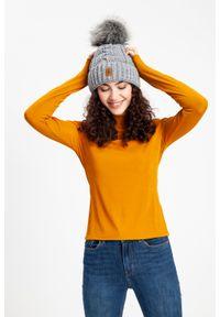 Ciepła czapka damska z wywinięciem PaMaMi - Miodowy. Kolor: pomarańczowy. Materiał: poliamid, akryl. Wzór: aplikacja. Sezon: zima, jesień