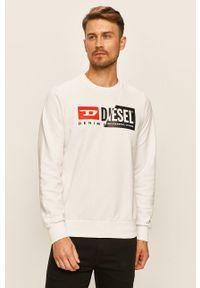 Biała bluza nierozpinana Diesel casualowa, z nadrukiem, na co dzień, z okrągłym kołnierzem