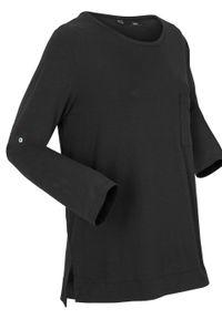 Czarna bluzka bonprix sportowa, z długim rękawem, długa