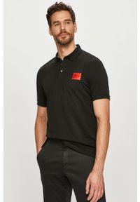Czarna koszulka polo Hugo krótka, polo, gładkie