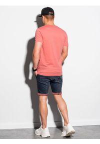 Ombre Clothing - T-shirt męski bawełniany basic S1369 - koralowy - XXL. Kolor: czerwony. Materiał: bawełna. Styl: klasyczny