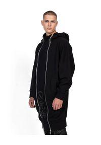 ROBERT KUPISZ - Czarna bluza ORIENT MONSHO. Kolor: czarny. Materiał: jeans. Długość rękawa: długi rękaw. Długość: długie. Wzór: nadruk. Styl: elegancki