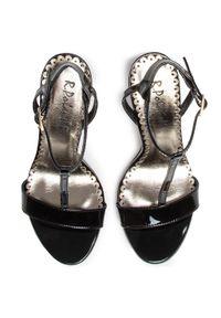 Czarne sandały R.Polański na obcasie, wizytowe, na średnim obcasie