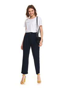 Niebieskie spodnie TOP SECRET w kolorowe wzory, eleganckie, na wiosnę, na co dzień