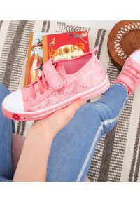 UNDERLINE - Trampki dziecięce Underline 25B1624 Różowe. Zapięcie: rzepy. Kolor: różowy. Materiał: tkanina, skóra, guma