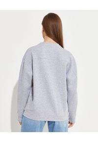 Pinko - PINKO - Szara bluza z biżuteryjnym logo Nelly 2. Kolor: szary. Materiał: jeans, bawełna. Długość rękawa: długi rękaw. Długość: długie. Wzór: aplikacja. Styl: glamour