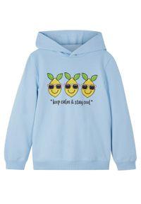 Bluza dziewczęca z kapturem, bawełna organiczna bonprix pudrowy niebieski. Typ kołnierza: kaptur. Kolor: fioletowy. Materiał: bawełna. Wzór: nadruk