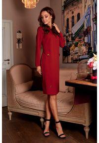 e-margeritka - Elegancka sukienka biznesowa za kolano - bordo, m. Okazja: na spotkanie biznesowe. Kolor: czerwony. Materiał: materiał, elastan, włókno, lakier, poliester. Długość rękawa: długi rękaw. Typ sukienki: proste. Styl: biznesowy, elegancki