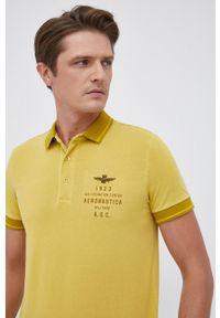 Aeronautica Militare - Polo. Typ kołnierza: polo. Kolor: żółty. Materiał: dzianina. Długość: krótkie