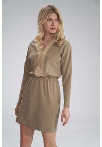 Figl - Mini Sukienka z Dekoltem Wykończonym Welurem - Beżowa. Kolor: beżowy. Materiał: welur. Długość: mini