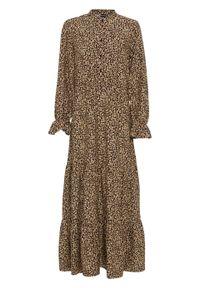 Długa sukienka z nadrukiem bonprix czarno-beżowo-ceglastobrązowy leo. Kolor: czarny. Wzór: nadruk. Długość: maxi