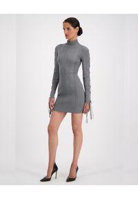 HERVE LEGER - Szara sukienka z wiązaniem. Kolor: szary. Materiał: tkanina. Długość rękawa: długi rękaw. Wzór: prążki. Długość: mini