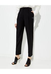 OFF-WHITE - Czarne spodnie z prostymi nogawkami. Kolor: czarny. Wzór: aplikacja