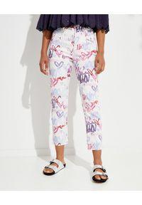 ISABEL MARANT - Jeansy z graficznymi nadrukami Dilianebb. Stan: podwyższony. Kolor: biały. Wzór: nadruk