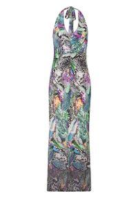 Długa sukienka bonprix zielono-niebiesko-lila we wzór skóry węża. Kolor: zielony. Materiał: skóra. Długość: maxi