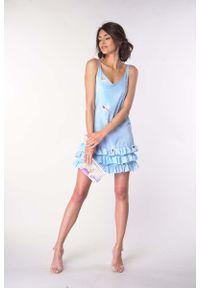 Niebieska sukienka wizytowa Nommo na ramiączkach, na lato, z falbankami
