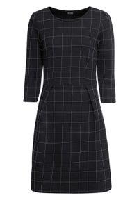 Sukienka z dżerseju bonprix czarno-biały w kratę. Kolor: czarny. Materiał: jersey, bawełna, materiał, poliester. Długość rękawa: krótki rękaw