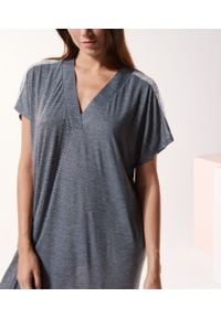 Szara piżama Etam długa, w koronkowe wzory