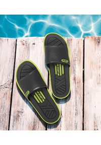 LANO - Klapki męskie basenowe Lano KL-4-6168-D Szare. Okazja: na plażę. Zapięcie: bez zapięcia. Kolor: szary. Materiał: guma. Obcas: na obcasie. Wysokość obcasa: średni, niski. Sport: pływanie