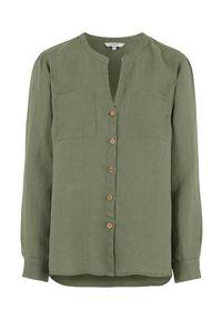 Cellbes Lniana koszula z drewnianymi guzikami khaki female zielony 34/36. Typ kołnierza: dekolt w serek, kołnierzyk stójkowy. Kolor: zielony. Materiał: len. Długość rękawa: długi rękaw. Długość: długie. Styl: elegancki