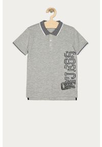 Szary t-shirt polo Guess z nadrukiem, casualowy, na co dzień