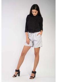 Nommo - Szare Krótkie Materiałowe Spodnie Szorty. Kolor: szary. Materiał: materiał. Długość: krótkie