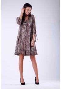 Nommo - Żakietowa Sukienka z Wiązaniem przy Rękawach. Materiał: wiskoza, poliester