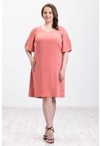Pomarańczowa sukienka Moda Size Plus Iwanek elegancka, oversize