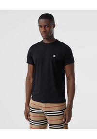 Burberry - BURBERRY - T-shirt z monogramem. Okazja: na co dzień. Kolor: czarny. Materiał: jeans, materiał. Wzór: haft, aplikacja. Styl: klasyczny, elegancki, casual