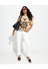 Burberry - BURBERRY - Beżowa koszulka z nadrukiem graficznym. Okazja: na imprezę. Kolor: beżowy. Materiał: bawełna. Wzór: nadruk
