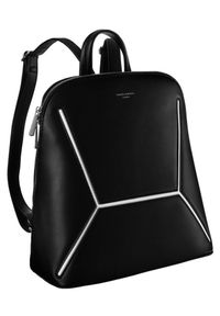 DAVID JONES - Plecak damski czarny David Jones 6261-2 BLACK. Kolor: czarny. Materiał: skóra ekologiczna