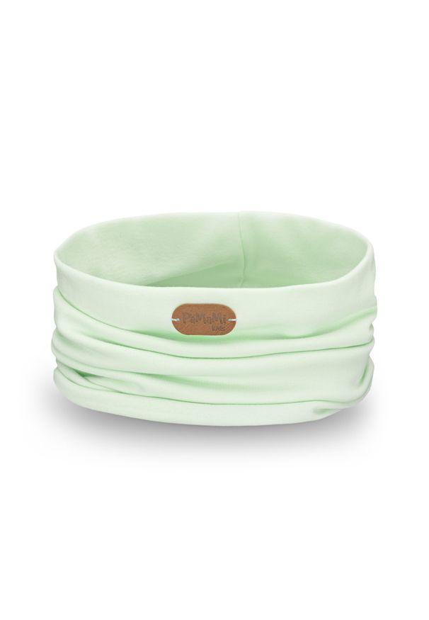 Modny, bawełniany komin dla dziecka PaMaMi - Pistacjowy. Okazja: na spacer. Kolor: zielony. Materiał: bawełna, elastan. Sezon: wiosna